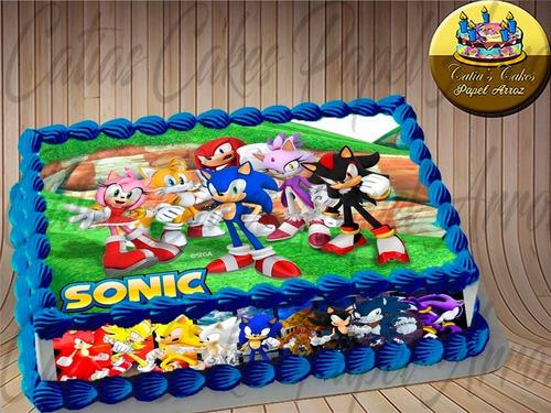 Imagem 1 de 1 de Papel De Arroz E Faixas Para Bolo Sonic Retangular