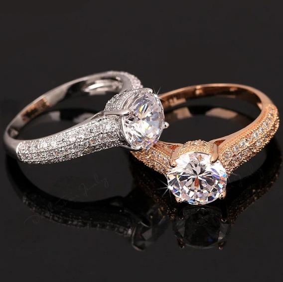 Hermoso Anillo En Oro 18 Kts Cristal Corte Diamante 299 Dama