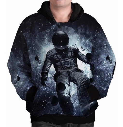 Blusa Moletom Tumblr Galaxia Universo Astronauta Bolso Capuz