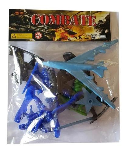 Set Combate 8 Soldados Con Avion De Plastico