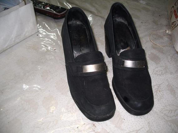 Zapatos Cerrados Negros Sucre De Nobuk Divinos Vestir Nro 40