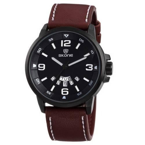 Relógio Masculino Skone Analógico Casual Social Pulseira De Couro 9345ag Original Importado Promoção Com Nota Fiscal