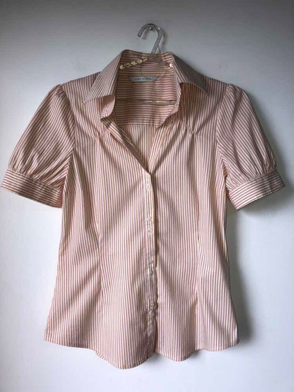 Camisa Manga Corta Elastizada Marca Zara Talle M