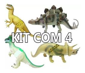 Kit Com 4 Dinossauros Borracha Grande