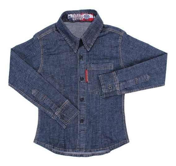 Camisa Jeans Feminina Infantil Manga Longa Rodeo Western 227