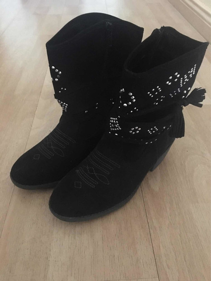 Botas Borcego Justice Negras Gamuza Mujer Impecables