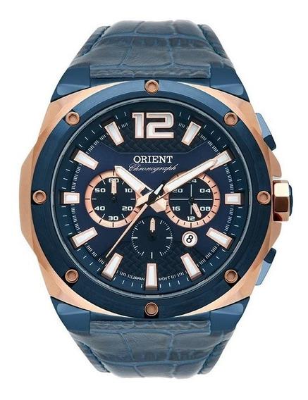 Relógio Orient Masculino Cronógrafo Rosê/azul Mtscc031 D2dx