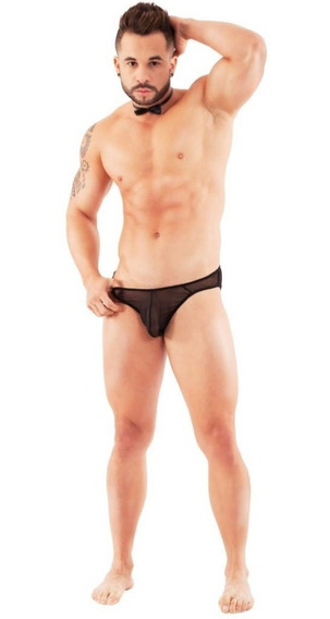 Ropa Interior Hombre Sexy Bikini En Malla Fina Transparente Negro O Rojo Lenceria Priscila Unitalla Ta26