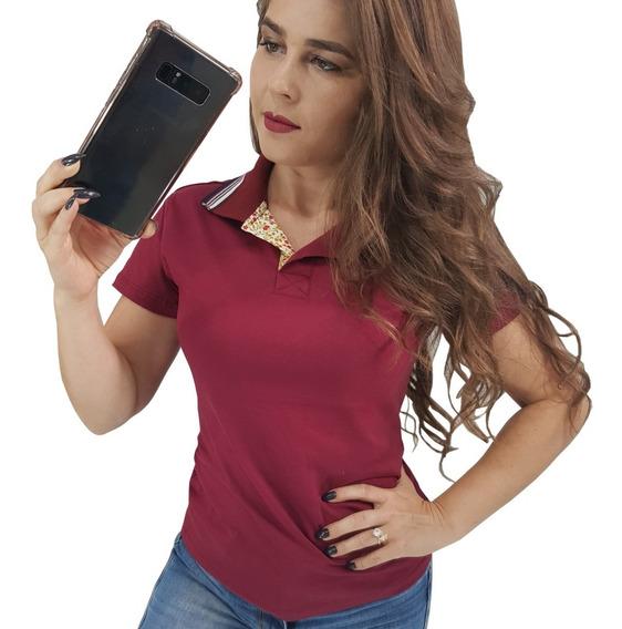 Kit 2 Blusas Feminas Gola Polo Camisetas T-shirt Evangelica
