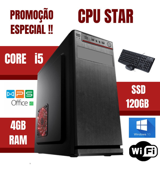Cpu Montada Core I5 4gb Ssd 120gb Windows 10 Teclado E Mouse