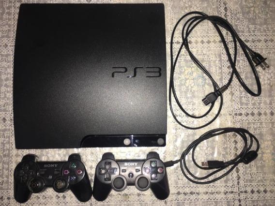 Playstation 3 Slim + Dois Controles, Sem Defeitos.