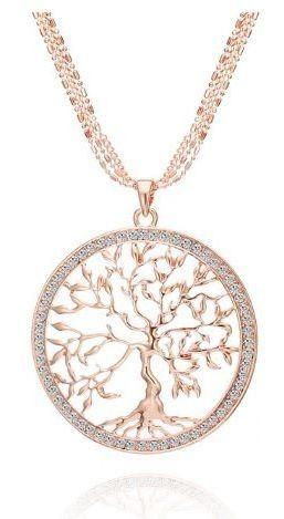 Colar Com Pingente Ouro Rosé Cristais Comprid Árvore Da Vida