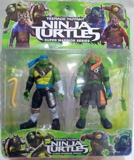 Tortugas Ninja Set Por 2 Muñecos + Armas