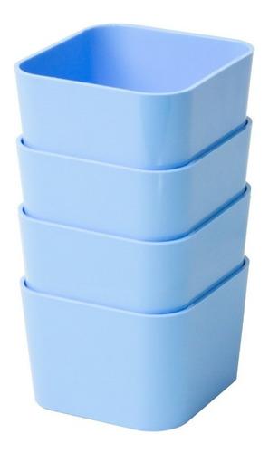 Porta Objetos Pequeno Kit C/ 4 Peças Azul