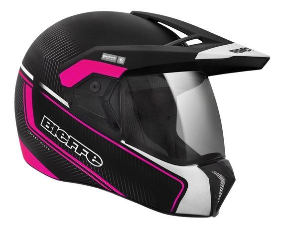 Capacete Moto Feminino Bieffe 3 Sport Stato Preto Rosa