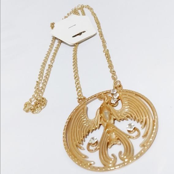 Colar Feminino Medalhão Fênix Ouro Dourado Marca La Saison
