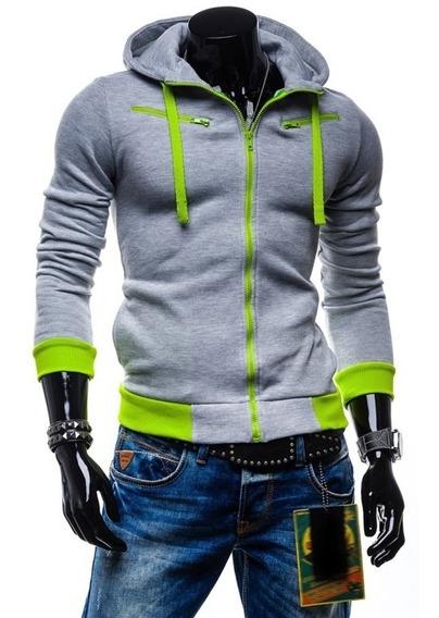 Hoodie Sudadera Slim Fit Contrast Zipper Envio Inmediato Env