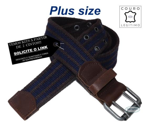 Cinto Plus Size Lona Premium Listrada Couro 4cm L39sl Cz