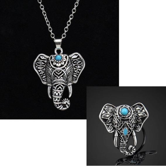 Anillo + Collar Cabeza Elefante Plateado Lapislazuli