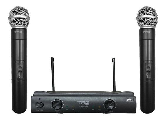Microfone Duplo Sem Fio Tag Sound Tm559b Uhf