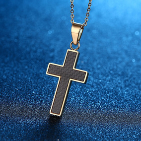 Colar Crucifixo Masculino Prata E Preto Talhado 27401