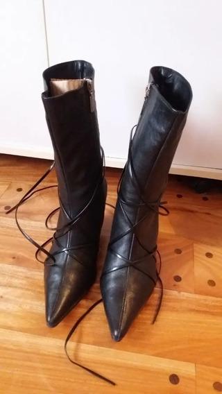 Bota Stiletto Cuero Con Tiras Lady Stork Como Nuevas Negro