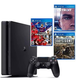 Playstation 4 Slim 1tb + Pes 20 + Days Gone + Detroit Become