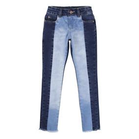 Calça Jeans Com Recorte Bicolor E Barra Desfiada 920626