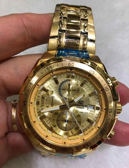 Relógio Hx005b Casio Edifice Ef539c Dourado Banhado Ouro 18