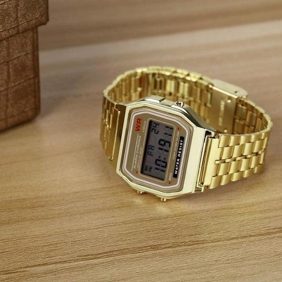 Relógio Pulso Dourado Unisex Young Line Retrô