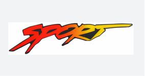 Emblema Adesivo Resinado Sport Vermelho Amarelo Alto Relevo