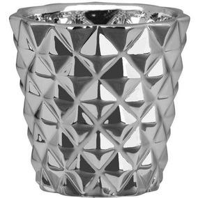 Cachepot Prata Em Cerâmica 7,5cm - Mart