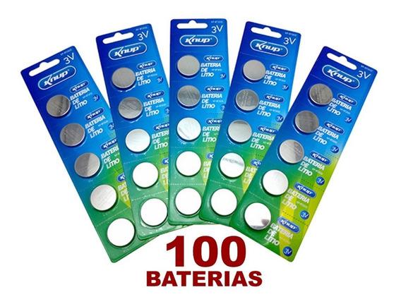 Kit Com 100 Baterias Cr2032 3v Lithium Placa Mãe Qualidade