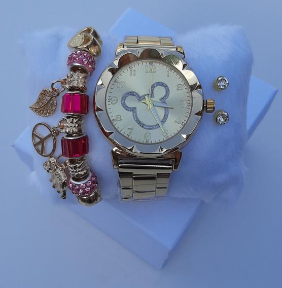 Kit-relógio Mickey 1 Pulseira 2 Pares De Brincos E Caixinha