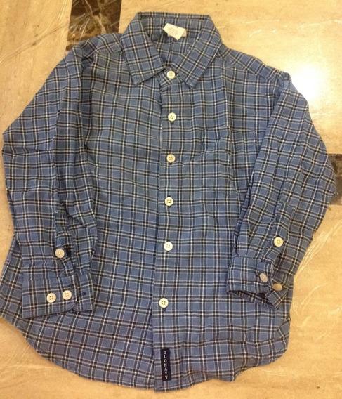 Camisa Azul A Cuadros Para Niño 4 /5 Old Navy Manga Larga