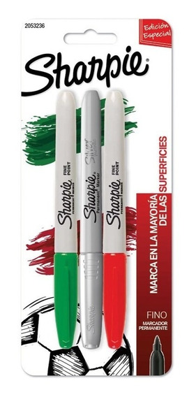 Marcadores Sharpie Fino X 3 Rojo/verde/plata