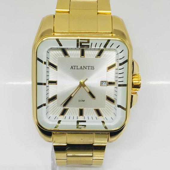 Relógio Masculino Atlantis A3077 Quadrado Social Luxo Origin