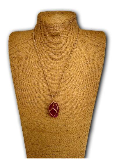 Colar De Pedra Natural Ágata Rosa Ref: 7887