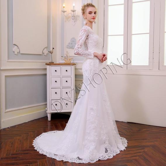 Vestido De Noiva Com Manga + Véu - Frete Grátis