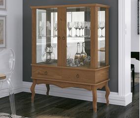 Cristaleira Retro Para Sala De Jantar Com Porta De Vidro