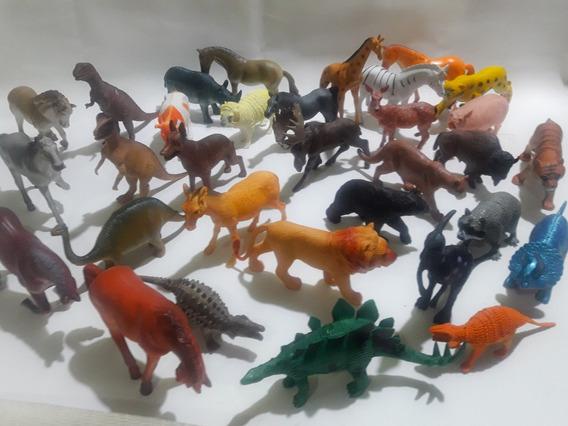 Kit 32 Brinquedo Dinossauro Borracha E Varios Animais Lindos
