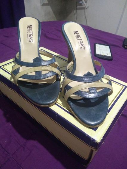 Zapatos /sandalias Pietras Impecables Verdes Con Beige .