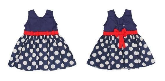Vestido Infantil Menina Azul Marinho De Bolinha E Vermelho