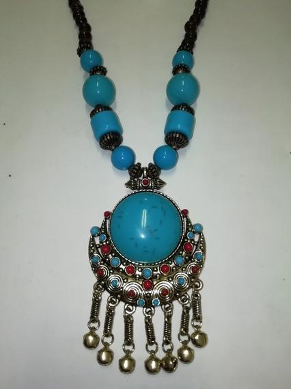 Collar Azul Turquesa Estilo Étnico