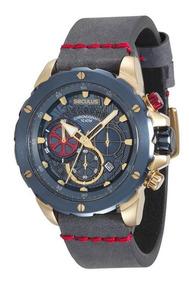Relógio Seculus Masculino Fundo Azul E Dourado 13017gpsvlc3