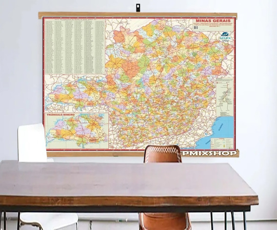 Mapa Estado Minas Gerais Banner Moldura Laminado 120x90cm