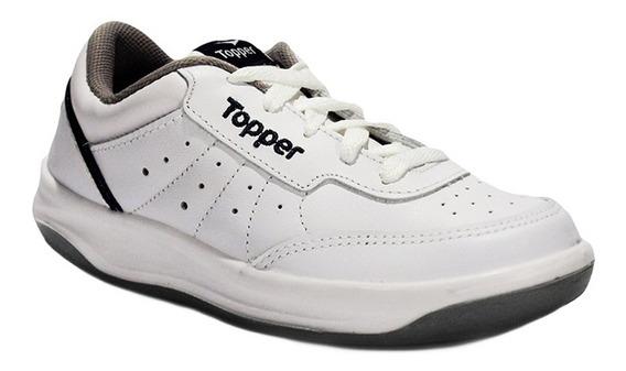 Zapatillas Cuero Topper X Forcer Reforzada Blanco/azul Niños
