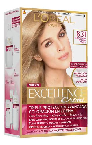 Tinta Loreal Excellence Creme Rubio Claro Dorado Ceniza 8.31