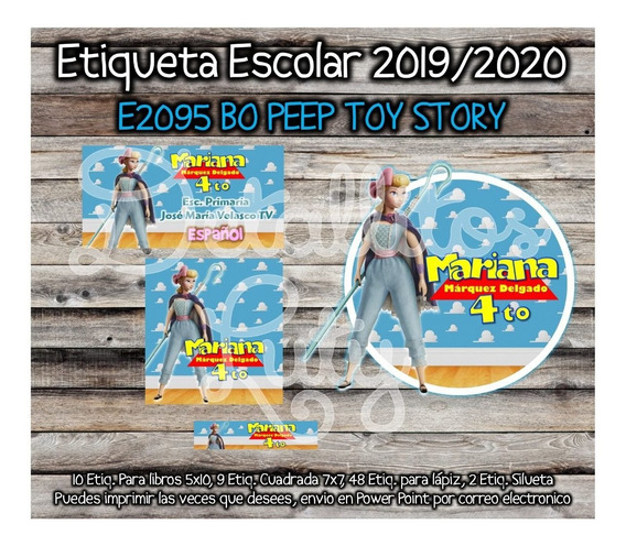 Kit Imprimible Etiqueta Escolar E2095 Bo Peep Toy Story