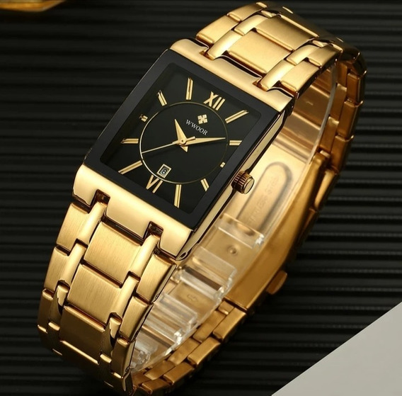 Relógio Masculino Importado Lançamento Wwoor Dourado